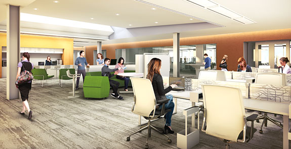 Interior rendering of the new IFNH Research Commons.